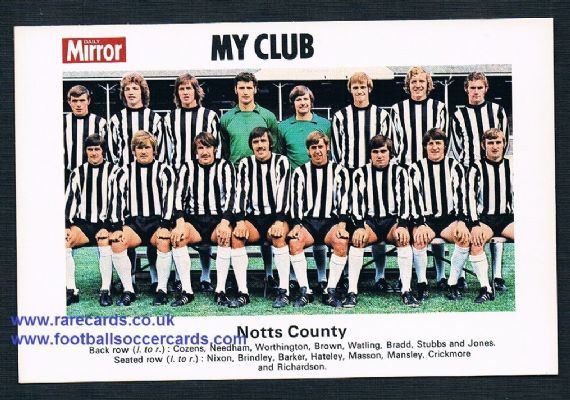 1970 My Club Daily Mirror postcard-size card Notts County